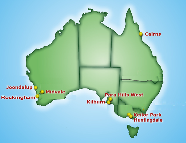 location of U-Brew It shops throughout Australia